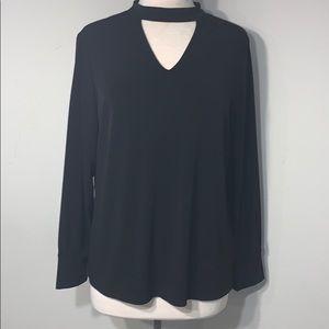 Chico's Sz 2 long sleeve asymmetrical black blouse